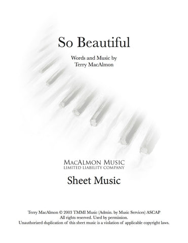 So Beautiful-Sheet Music (PDF Download) + Lead Sheet