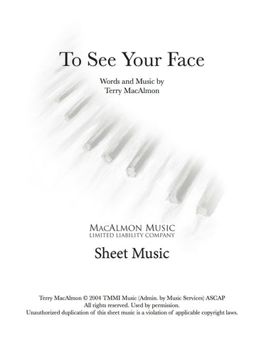 To See Your Face-Sheet Music (PDF Download) + Lead Sheet