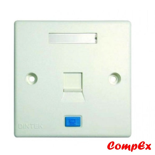 Dintek Rj45 Cat5E 1 Port Wallplate With Shutter Keystone Jack And Wall Box Wallbox