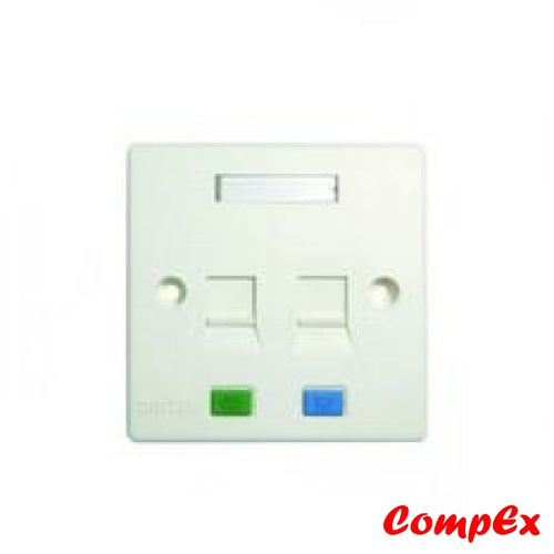Dintek Rj45 Cat5E 2 Port Wallplate With Shutter Keystone Jacks And Wall Box Wallbox