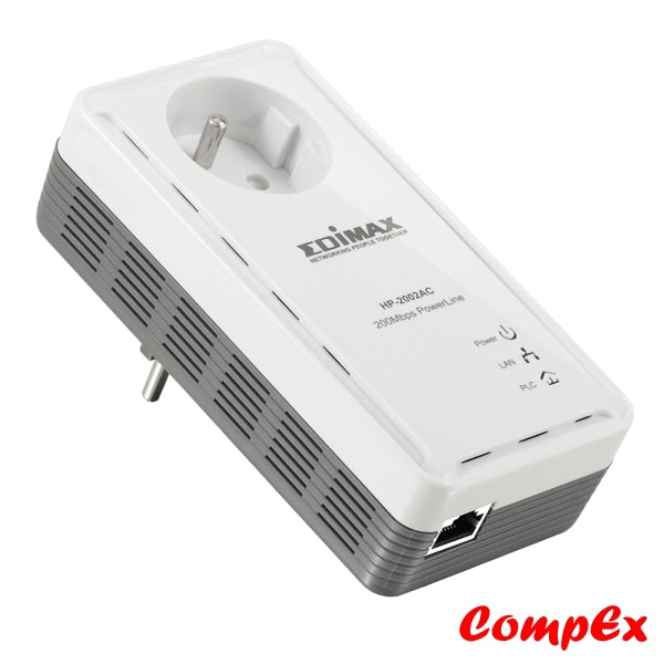 Edimax 200Mbps Powerline Ethernet Adapter With Integrated Power Socket Hp-2002Ac Range Extender