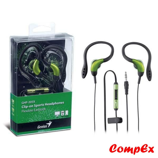 Genius Clip-On Sports Headphones With Flexible Earhook Ghp-205X Green Headphone