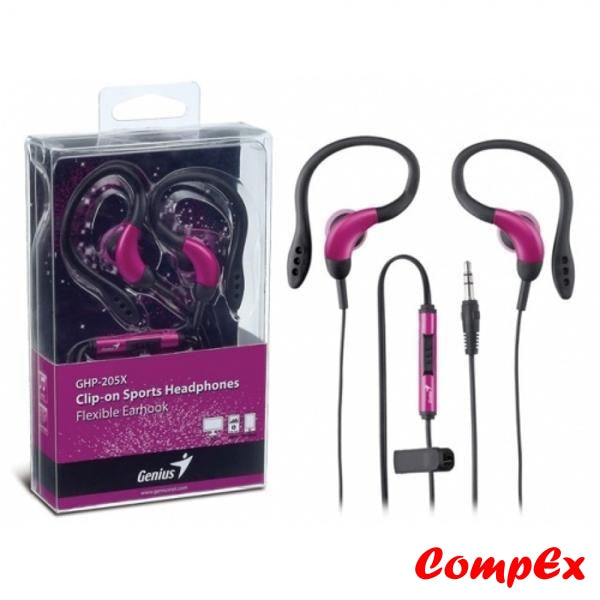Genius Clip-On Sports Headphones With Flexible Earhook Ghp-205X Pink Headphone