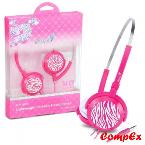 Genius Ghp-400F Foldable Lightweight 3.5Mm Headphones For Pc Ipod Mp3 - Pink