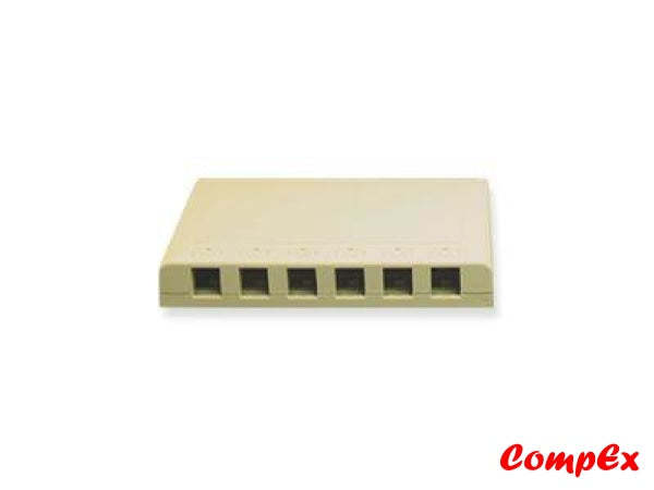 Goldx Six Port Rj11 Surface Mount Box - Ivory Wallbox