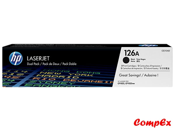 Hp 126A 2-Pack Black Original Laserjet Toner Cartridges (Ce310Ad) Cartridge