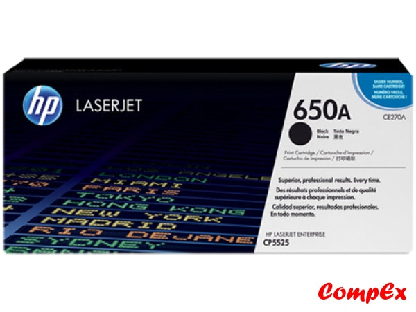 Hp 650A Black Original Laserjet Toner Cartridge (Ce270A)