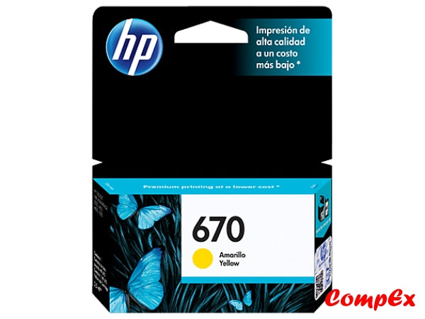 Hp 670 Yellow Original Ink Advantage Cartridge (Cz116Al)