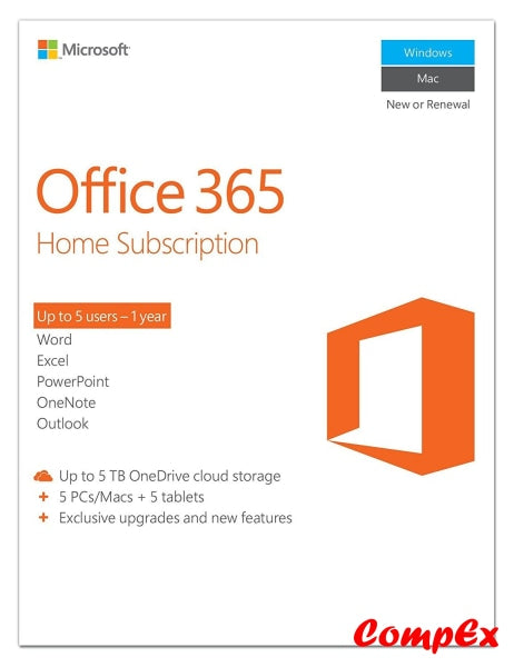 Microsoft Office 365 Home Subscription - 1 Year Software