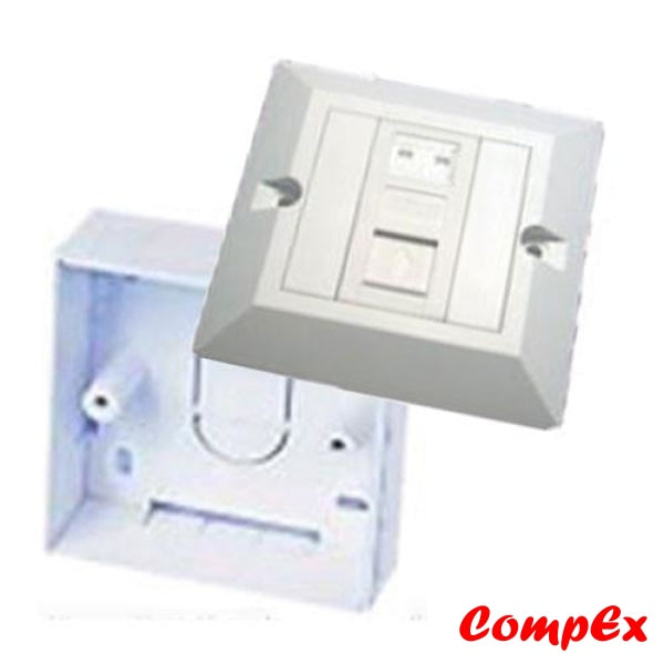 Omega Rj45 Cat6 1 Port Wallplate With Shutter Keystone Jacks And Wall Box Wallbox