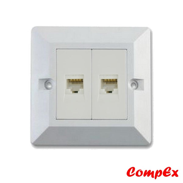 Omega Rj45 Cat6 2 Port Wallplate With Shutter Keystone Jacks And Wall Box Wallbox