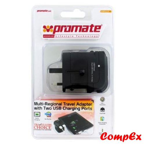 Promate Unipro.4 Multi-Regional Travel Adapter With Two Usb Charging Ports Power Adaptor