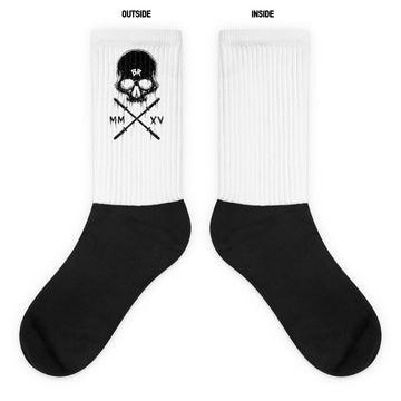 Barbell Rocker Skull Socks White