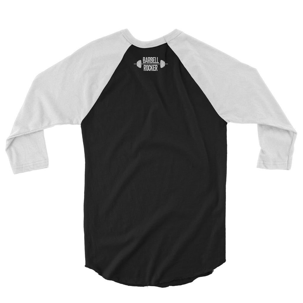 Barbell Rocker 3/4 sleeve raglan shirt white black