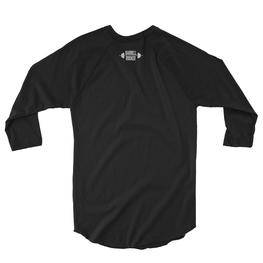 BARBELL ROCKER 3/4 SLEEVE RAGLAN SHIRT ALL BLACK TYPO