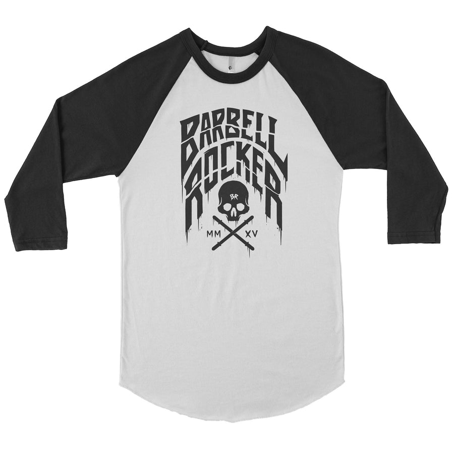 BARBELL ROCKER 3/4 SLEEVE RAGLAN SHIRT BLACK WHITE