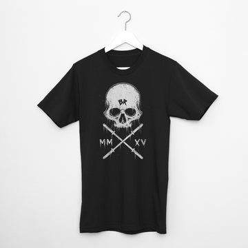 Crossfit T-Shirt - Barbell Rocker Skull Front White on black