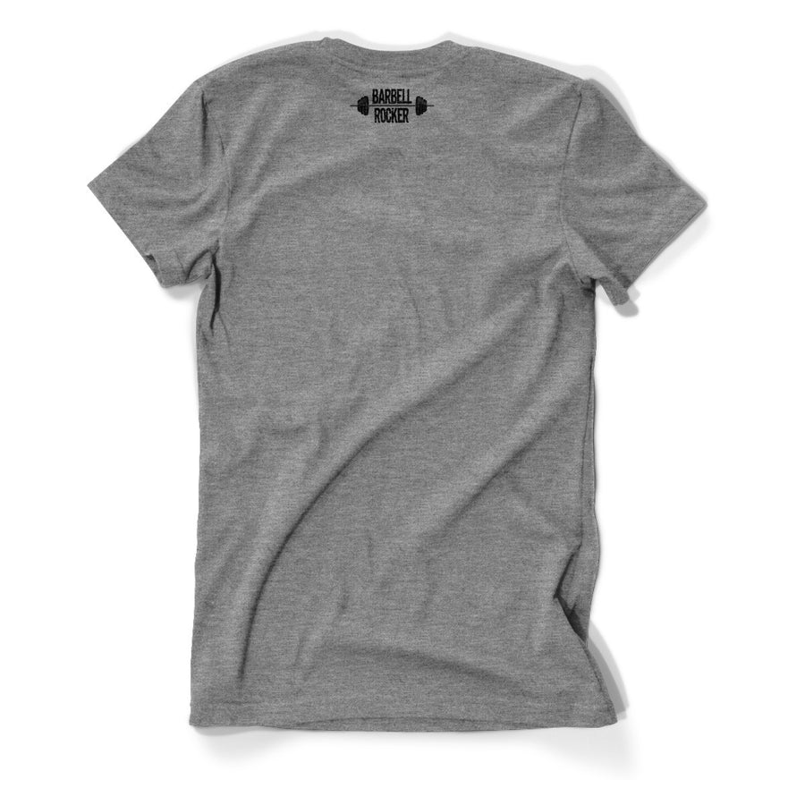 Crossfit T-Shirt - Barbell Rocker T-Shirt Heather Grey Back