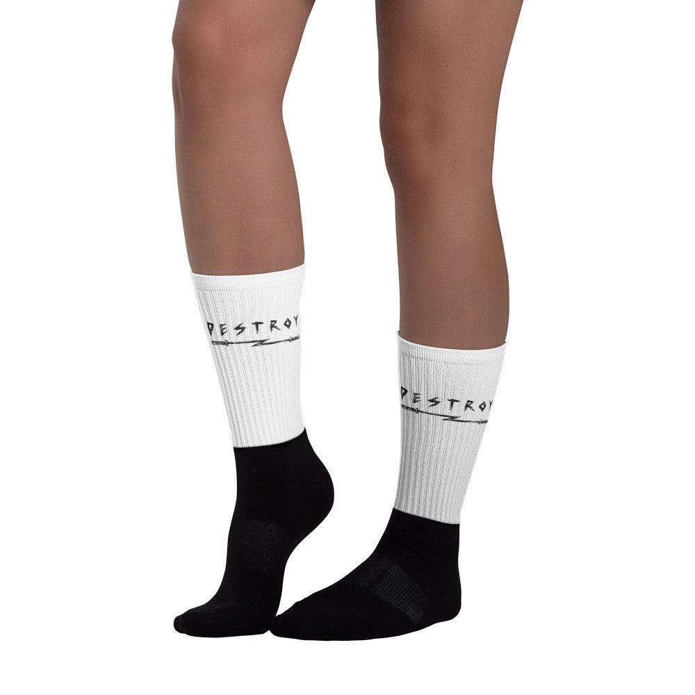 "BR ""Destroy"" Black foot socks"