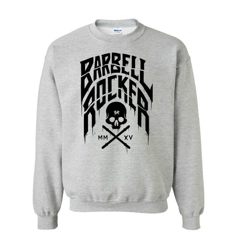 Barbell Rocker Typo n Skull Sweatshirt heather grey