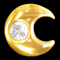 Moon with cubic zirconia 22ct yellow gold
