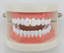 Grillz Single Cross gold plated