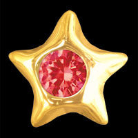 Star with ruby 22ct yellow gold