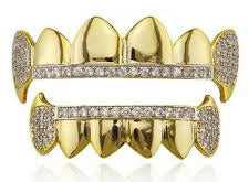 Grillz half teeth vampire fang with cubic zirconias