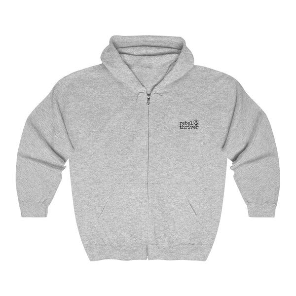 Rebel Thriver Zip Up Logo Hoodie (Gray Heather)
