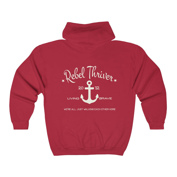 Rebel Thriver Zip Up Logo Hoodie