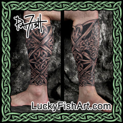 Celtic Lower Leg Sleeve Tattoos