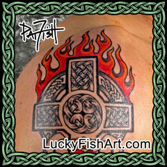 Flaming Celtic Cross Tattoos