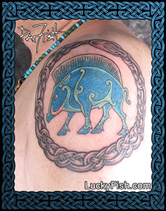 Pictish Boar & Celtic Oroboros Tattoo Design