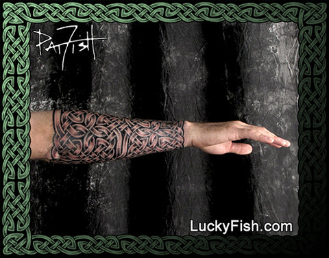 Celtic Gauntlet Forearm Wrap Knotwork Tattoo Design