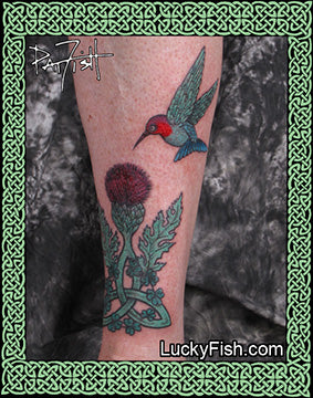 Regal Visit Celtic Hummingbird & Thistle Tattoo Design