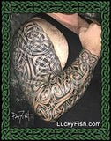 Celtic sleeve tattoo by Pat Fish