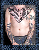 Pictish Keymorphic tattoo design spiral geometric