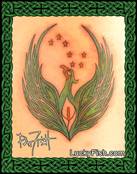 Irish Phoenix Tattoo Design
