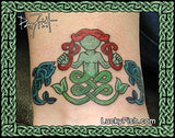 mermaid and fish pictish tattoo design