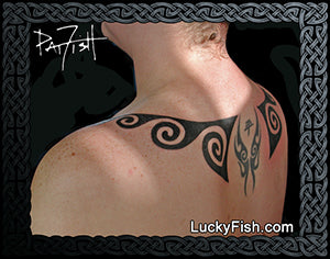 Water Wings Tribal Tattoo Design