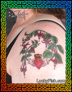 Celtic Fuchsia and Claddagh Tattoo Design