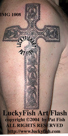 Luck O' The Irish Cross Celtic Tattoo Design 1