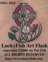 Spring of Faith Cross Celtic Tattoo Design 1