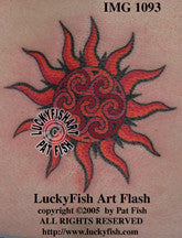 Spiral Power Sun Celtic Tattoo Design 1