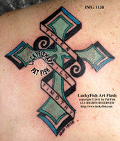 Tribal Name Cross Christian Tattoo Design 1