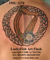 Bardic Harp Celtic Tattoo Design 1