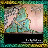 Luna Moth Realistic Tattoo Design