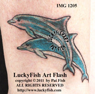 Leaping Dolphins Tattoo Design 1