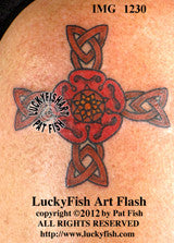 Tudor Rose Cross Celtic Tattoo Design 1