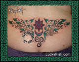 Star Lite Celtic Lower Back Tattoo Design